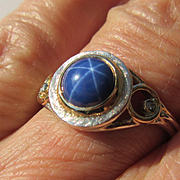 Silver/9kt Gold Lindy Star Sapphire and Diamond Artisan Ladies Ring