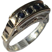 Silver/9kt Yellow Gold Multi Sapphire Arched Setting Artisan Ladies Ring