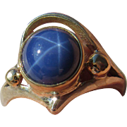 Silver/9kt Lindy Star Sapphire Ladies Artisan Ring