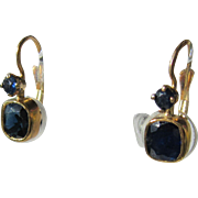 14kt Yellow Gold Double Sapphire Dangle Earring - French Back Closure
