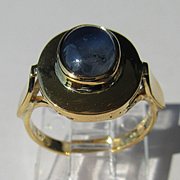 14kt Yellow Gold Mesmerizing Cabochon Blue Sapphire Artisan Ladies Ring