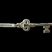 Sapphire Key Pendant, Silver Key Pendant, Key Pendant, Key Pendant with Chain, Key Jewelry, Silver Pendant, Silver Jewelery