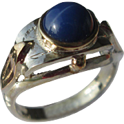 Silver/9kt Rose Gold Round Lindy Star Sapphire Ladies Ring