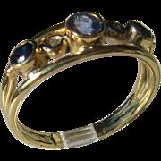14kt Yellow Gold Tanzanite/Sapphire Artisan Ladies Ring