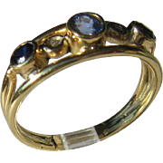 14kt Yellow Gold Tanzanite/Sapphire Artisan Ladies Ring