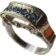 Arched Silver/9kt Pink Gold Multi Sapphire Artisan Ladies Ring