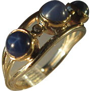 Sterling/9kt Yellow Gold Triple Lindy Star Sapphire/Diamond Ladies Ring