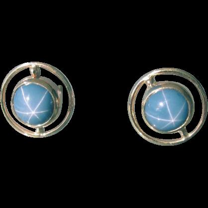 9kt yellow gold man made blue star sapphire bezel set gold for Man made sapphire jewelry
