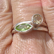 Sterling Peridot/Citrine Stacking Ring Set