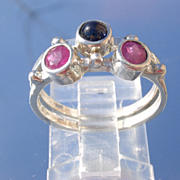 Sterling Ruby/Sapphire Interlocking Stacking Rings