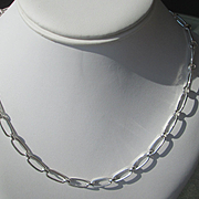 Sterling Silver Handmade Oval Link Artisan Neclace