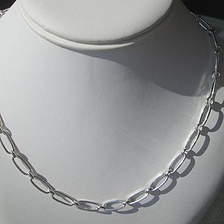 Sterling Silver Handmade Oval Link Artisan Neclace