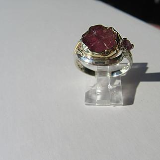 Sterling Silver/9kt Pink Gold Carved Pink Tourmaline Flower Artisan Ring