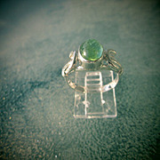 Sterling Silver Oval Light Green Tourmaline Ladies Ring