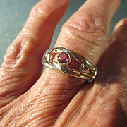 Sterling Silver/9kt Yellow Gold Pink Tourmaline/Diamond Ladies Ring