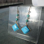 9kt Yellow Gold Diamond Shape Turquoise and Freshwater Pearl Dangle Earrings