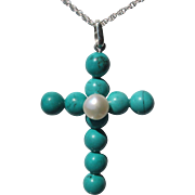 Sterling Silver Turquoise and Freshwater Pearl Large Gemstone Cross with Sterling Chian