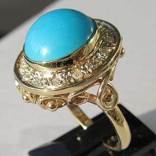 9kt Yellow Gold Round Turquoise/Diamond Artisan Ladies Ring