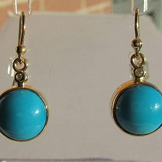 9kt Yellow Gold Round Turquoise/Diamond Dangle Artisan Earrings