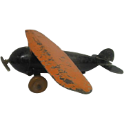 Metal Wyandotte Airplane Toy with wooden wheels