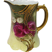 Stunning Hand Painted Artist Signed Rose Decorated Limoges Pitcher