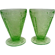 Two Vintage Green Cherry Blossom Depression Glass  Footed Juice Tumblers