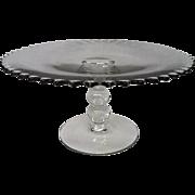 Vintage Elegant Depression Glass Candlewick Large Cake Stand