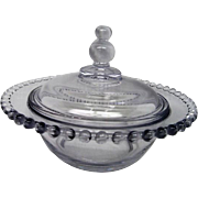 Vintage Elegant Depression Glass Candlewick Covered Candy Dish