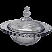 Vintage Elegant Depression Glass Candlewick Covered Candy Dish