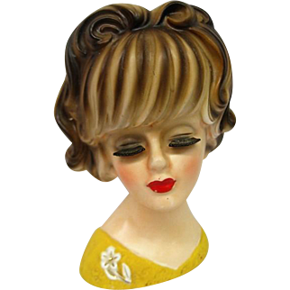 Vintage Lovely Lady Head Vase with flower brooch on yellow dress