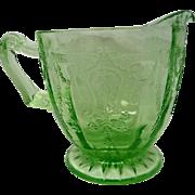 Green Depression Glass Footed Cameo Ballerina Creamer