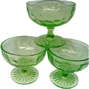 Three Green Depression Glass Cameo Ballerina Sherbets