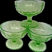 Three Green Depression Glass Cameo Ballerina Sherbets