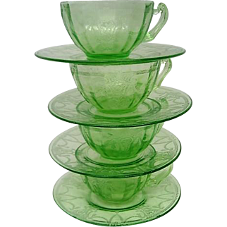 Four Green Depression Glass Cameo Ballerina Cups and Saucers