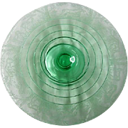 Green Black Forest Footed Elegant Depression Glass Cake Stand
