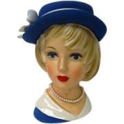 Blue Hat Young Girl Head Vase