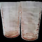 Two Pink Block Optic Flat Depression Glass Tumblers