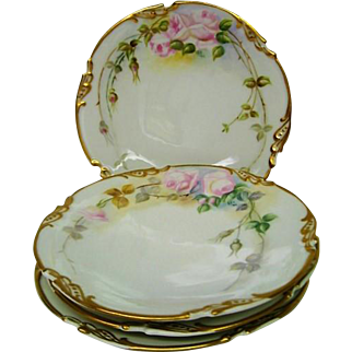 Four Hand Painted Rose Decorated Plates