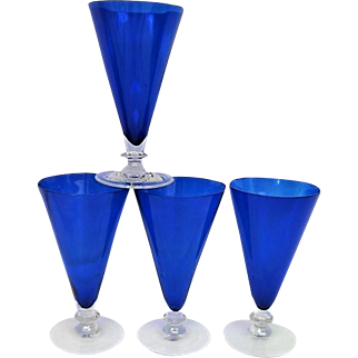 Four Morgantown Ritz Blue Footed Cotillion Ice Tea Goblets