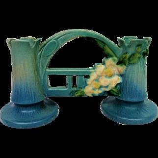 Blue Roseville White Rose Double Bud Vase