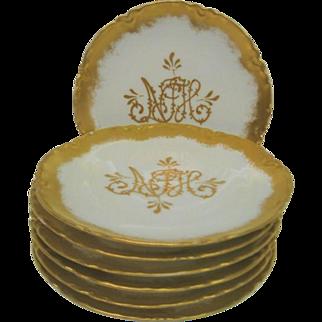 Six Gold Decorated Haviland Limoges Dessert Plates