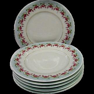 Six Silesia Rose Decorated Dessert Plates