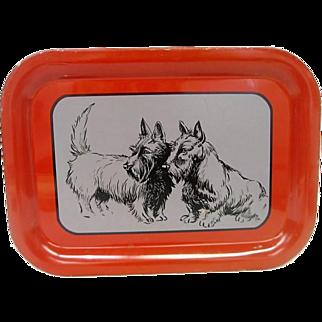 Metal Litho Scotty, Scotties Dogs Tray Red Trim
