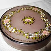 Floral Hand Painted Czechoslovakian Floral Powder Jar