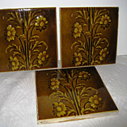 Three California Pottery Art Pottery Floral Tiles - Red Tag Sale Item