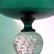 Green Controlled Bubble Footed Pairpoint Compote