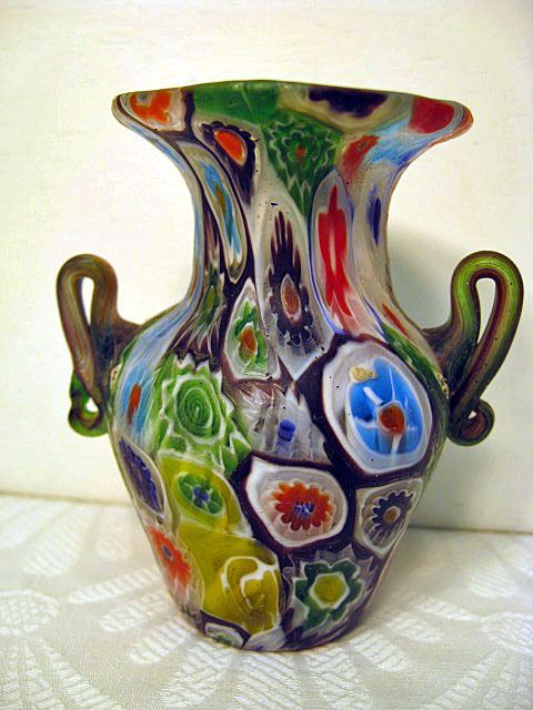Antique Millefiori Handled Vase From Glassonion On Ruby Lane