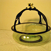 Venetian Blown Glass Basket with Black Glass Handles and Florette