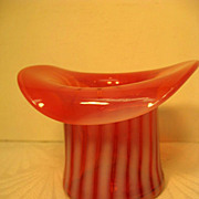 Fenton Cranberry and White Swirl Top Hat Vase