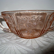 Pink Sharon Cabbage Rose Two Handled Cream Soup Bowl